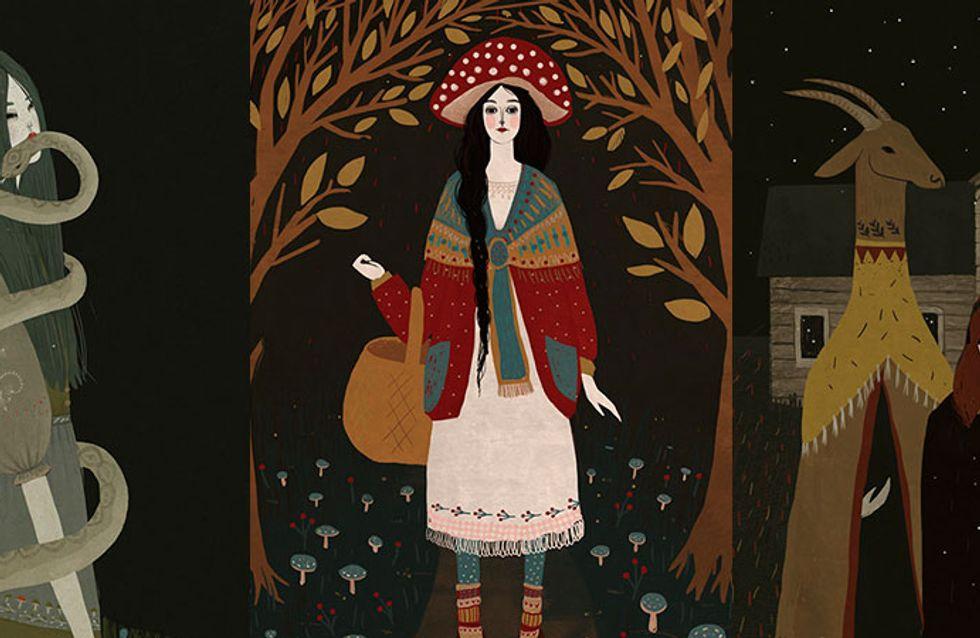 Ilustrações com elementos místicos e femininos são a marca de Alexandra Dvornikova