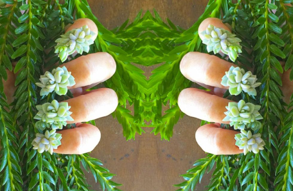 The Botanical Succulent Nail Trend Giving A Whole New Meaning To 'Green Fingers'