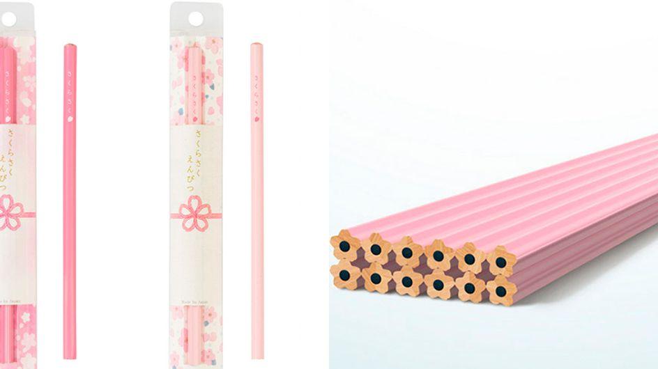 Para apaixonadas por papelaria, lápis 'flor de cerejeira'