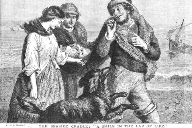 Registro histórico sobre bebê carregado em tecido