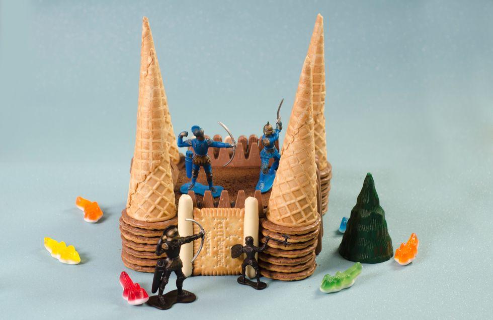 Un gâteau d'anniversaire château fort !