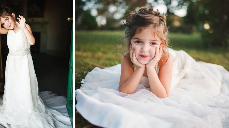 Diese 4-Jährige posiert im Brautkleid ihrer Mutter - aus einem bewegenden Grund