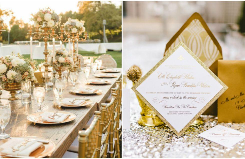 Como usar dourado na decoração do seu casamento