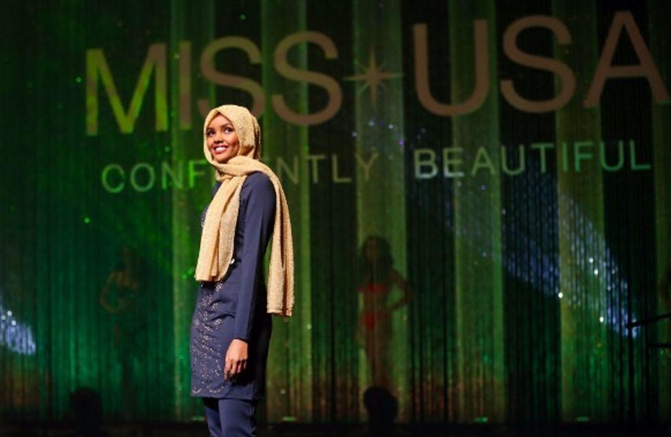 Halima Aden bouscule les idées reçues en défilant en burkini et hijab pour Miss USA (Vidéo)