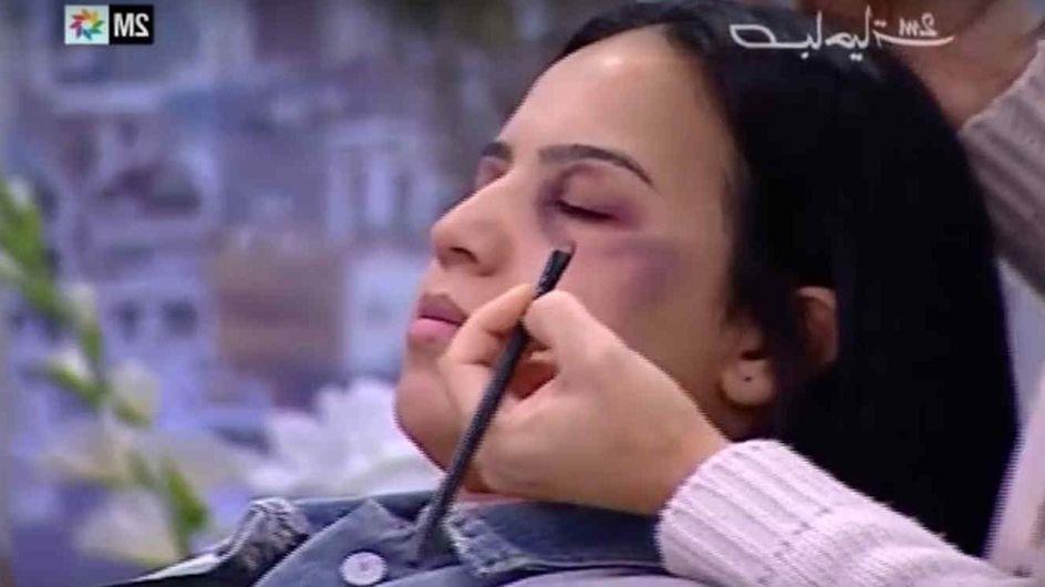 La televisión marroquí enseña a disimular con maquillaje los golpes por malos tratos