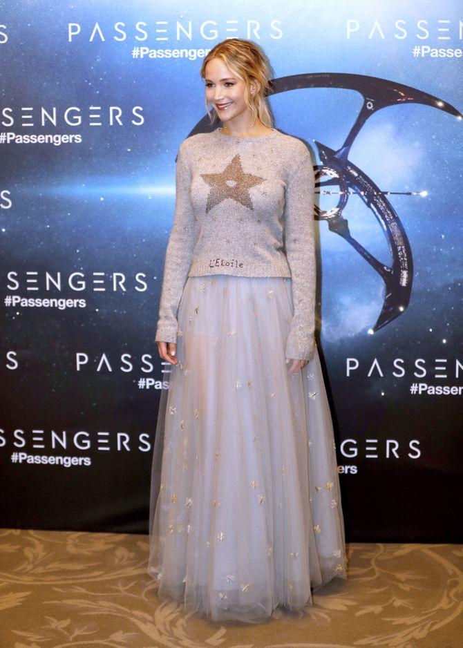Jennifer Lawrence, lors de la présentation de nouveau film Passengers à paris