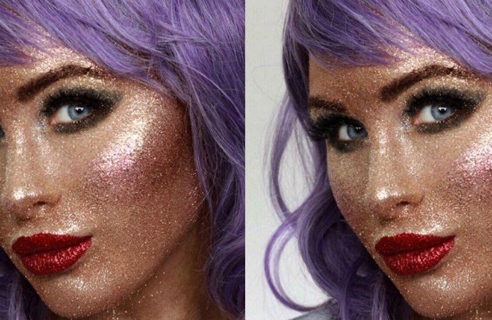 Ela se maquiou usando apenas glitter... E ficou mara!