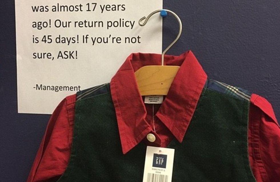 La bonne blague du jour : Chez Gap, un employé rembourse un article acheté en 2000 (Photo)