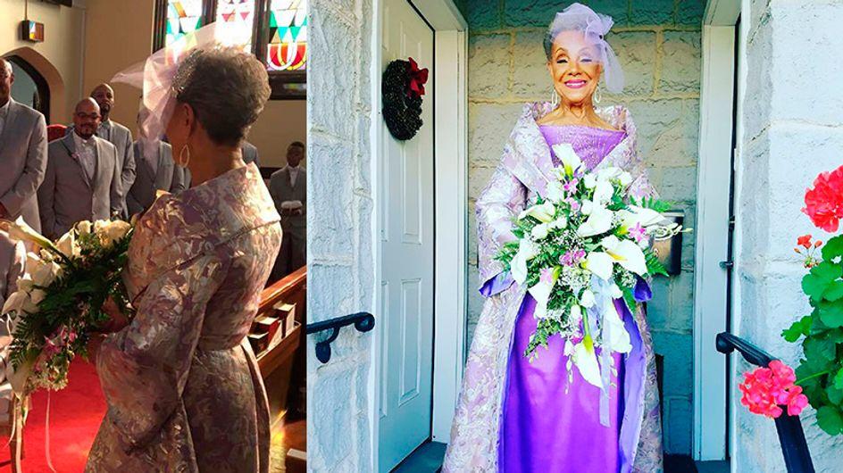 Essa senhora de 86 anos desenhou seu próprio vestido de noiva
