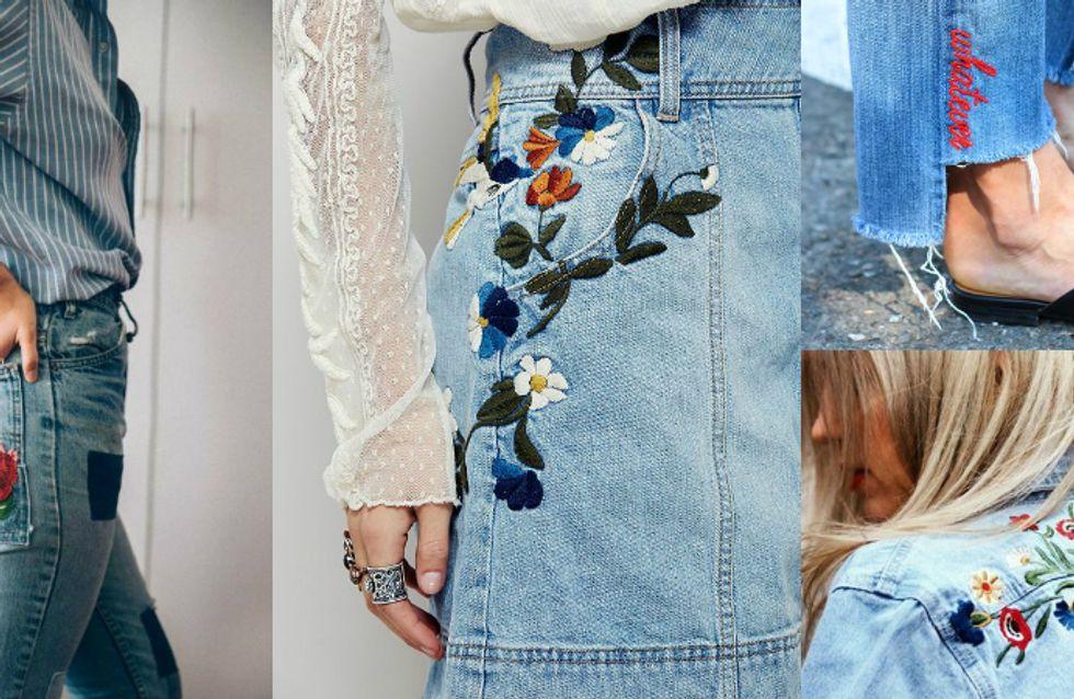 Peça-desejo: jeans bordados