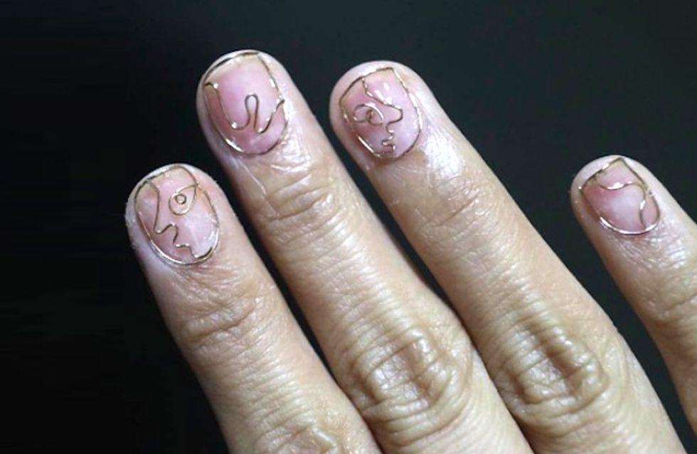 El nail art hecho con alambre que te dejará con la boca abierta