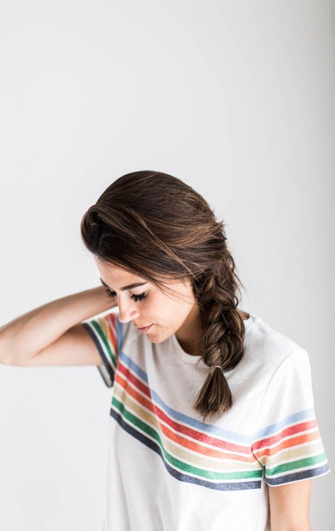 Schnelle Frisuren für ungewaschene Haare: die Flechtfrisur