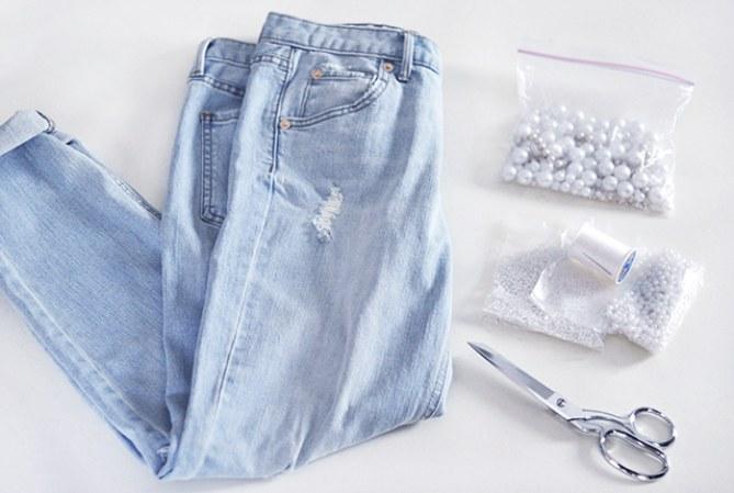 Perlen-Jeans selber machen: Anleitung