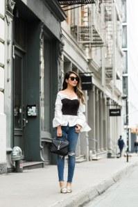 Bustier kombinieren: Stylisch mit Bluse und Skinny Jeans