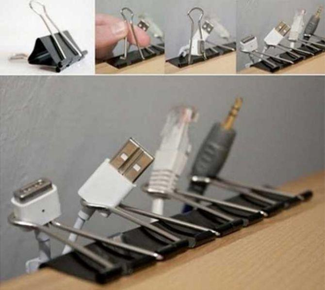 Des pinces à papier peuvent faire des miracles pour vos câbles
