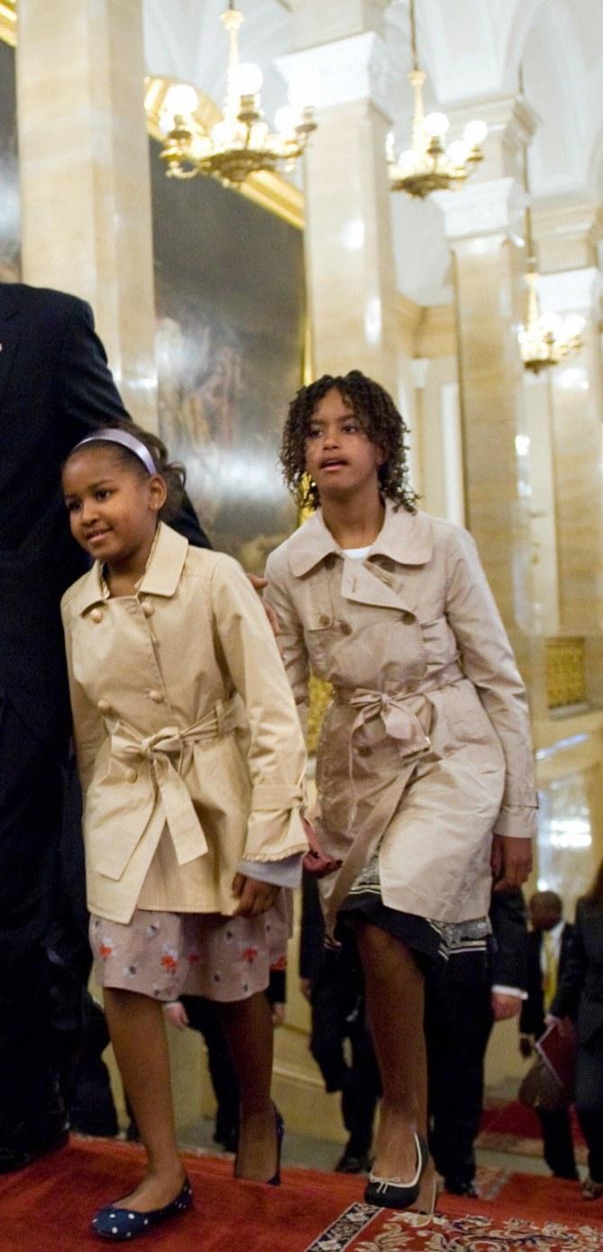 Sasha et Malia Obama en juin 2009