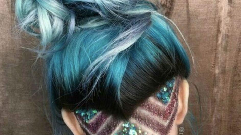 Move Over Hidden Rainbow Hair, Glitter Undercuts Have Arrived