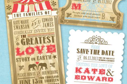 Einladungen für die Zirkushochzeit