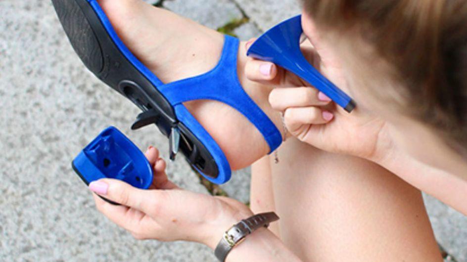 As sandálias da Mime et Moi permitem que você troque de salto quando quiser
