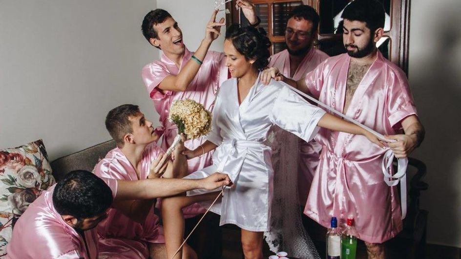 Wer braucht schon Brautjungfern? Diese Braut feiert ihren schönsten Tag einfach mit den Kumpels