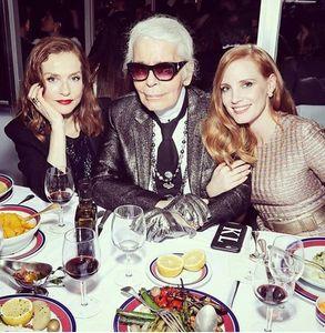 Isabelle Huppert, Karl Lagerfeld et Jessica Chastain