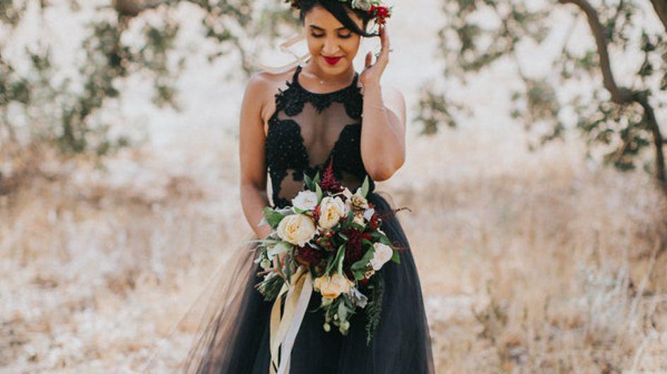 23 vestidos negros para novias no supersticiosas