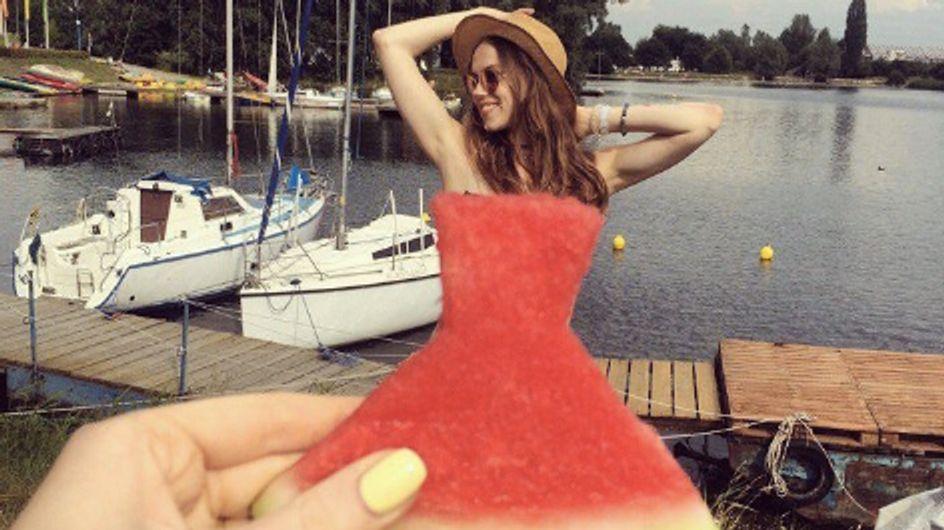 Une tranche de pastèque en guise de robe, découvrez le nouveau jeu d'Instagram ! (Photos)