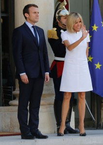 Brigitte Macron et son époux, Emmanuel Macron, président de la République
