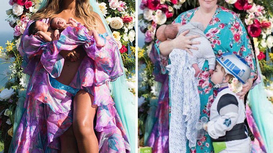 Las divertidas fotos de unos padres que imitan a Beyoncé con sus gemelos