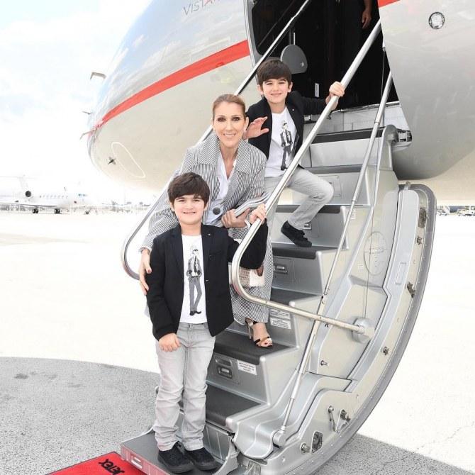Celine Dion quitte Paris en compagnie d'Eddy et Nelson