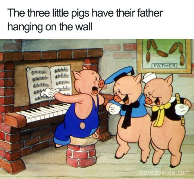 Los tres cerditos tienen un cuadro de su padre muerto en el salón