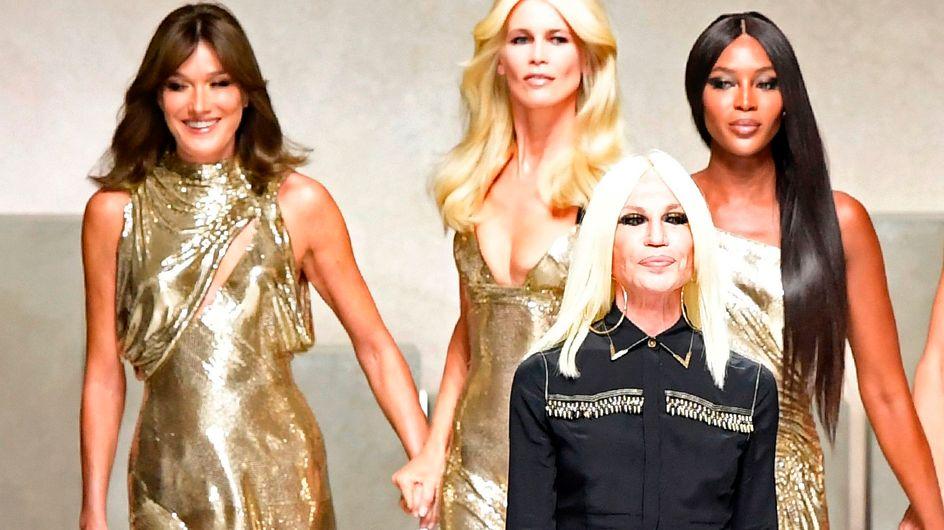 Fashion Week : Pour son défilé, Donatella Versace réunit les supermodels des années 90 (photos)