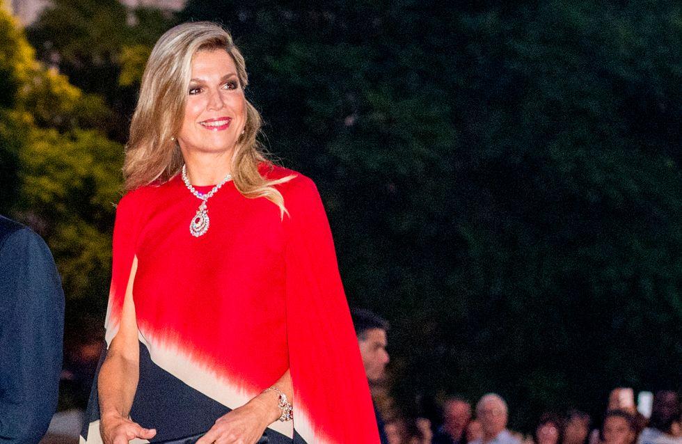 Maxima de Holanda y su vestido con capa, el mejor look de la semana