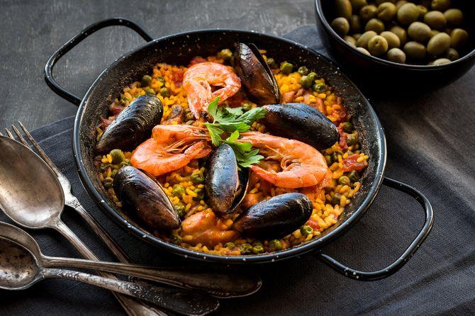 Recetas con marisco: paella de marisco