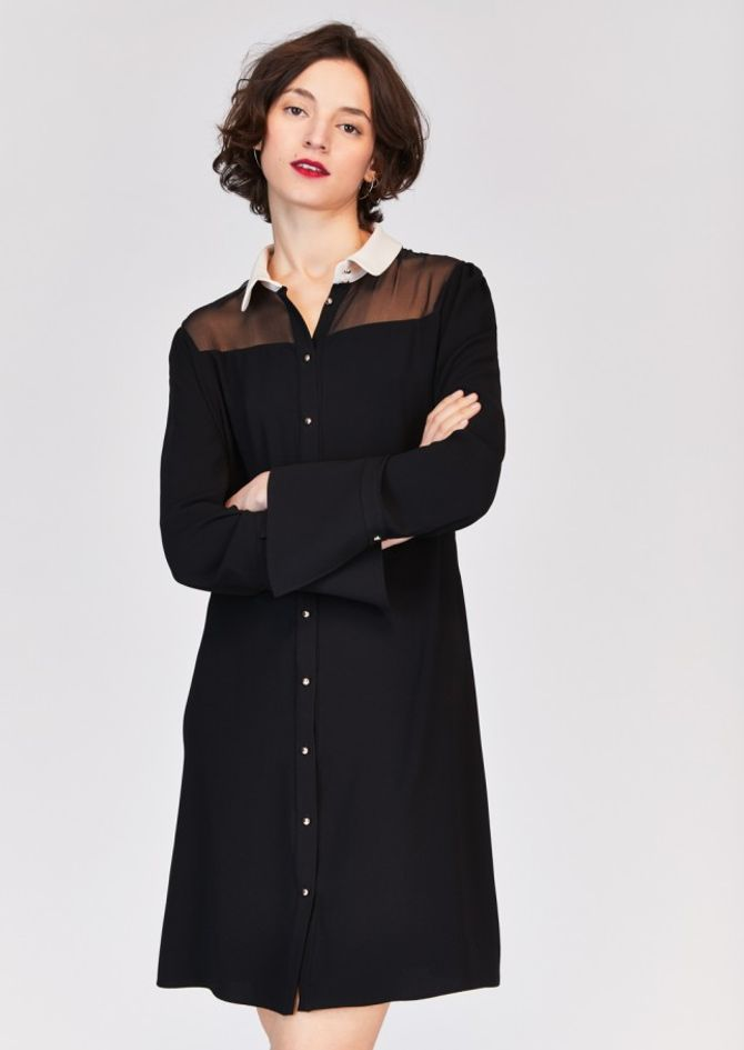 Robe bicolore manches extra longues, 290€, Tara Jarmon