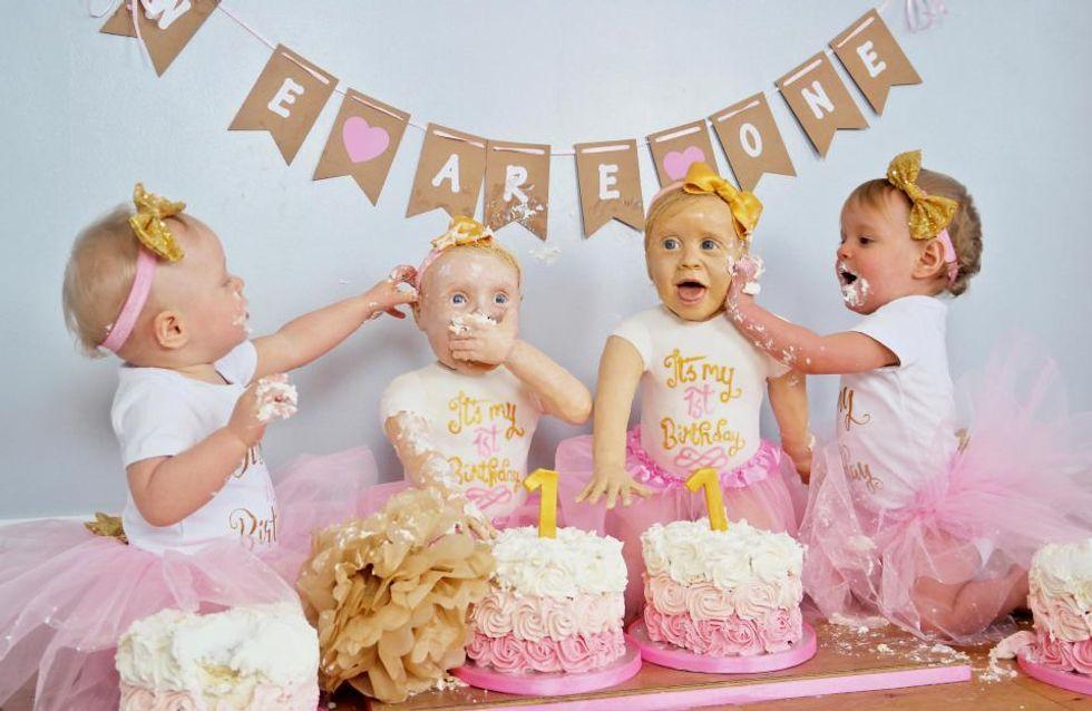 Pour leur anniversaire, cette maman crée le sosie de ses jumelles en gâteau (Photos)