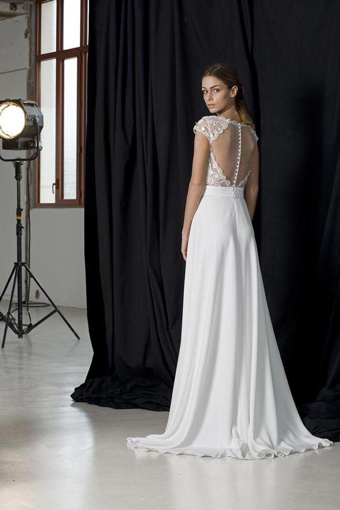 Robe de mariée Hepburn, sobre et classique devant et aourée dos, Lambert réations