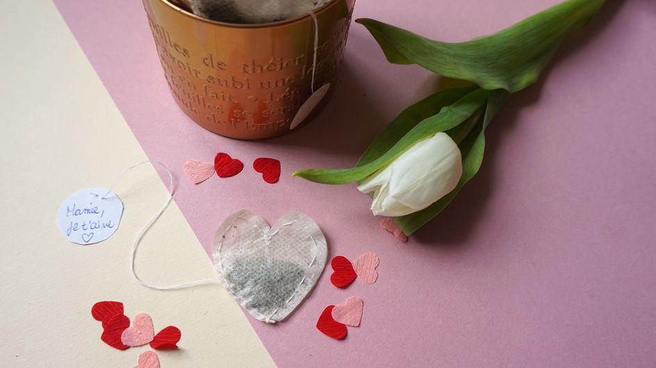 DIY : des sachets de thé en forme de coeur pour Mamie Chérie