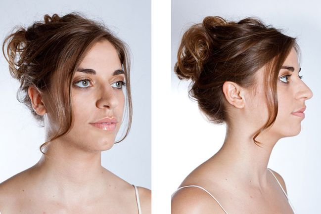 Make an easy casual updo yourself: fix with styling products
