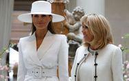 Brigitte Macron et Melania Trump, deux premières dames glamour en robes longues