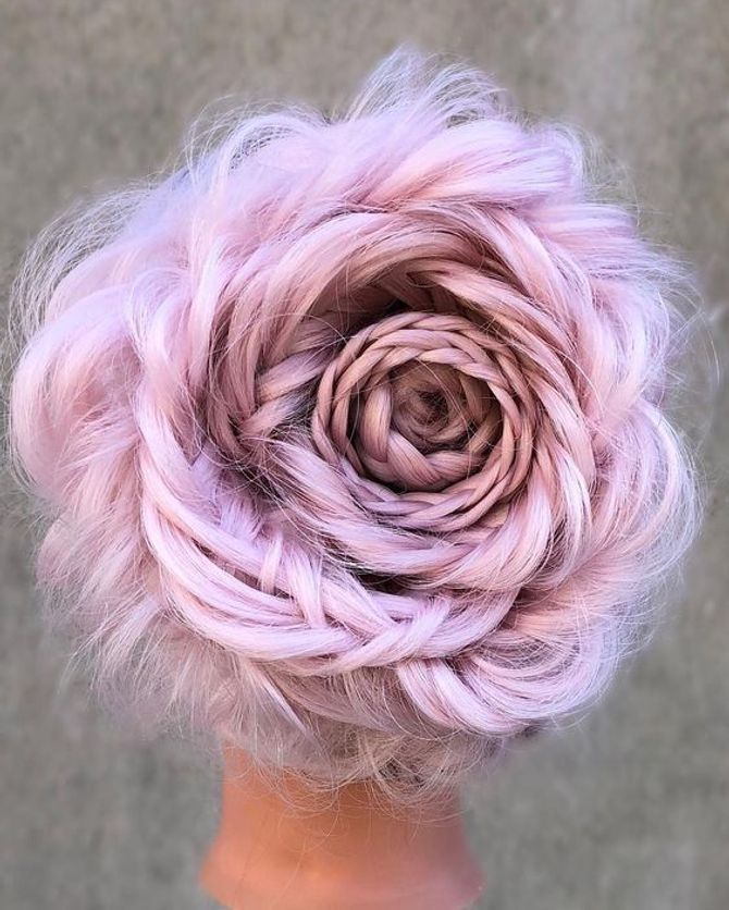 Trenzas con forma de rosa