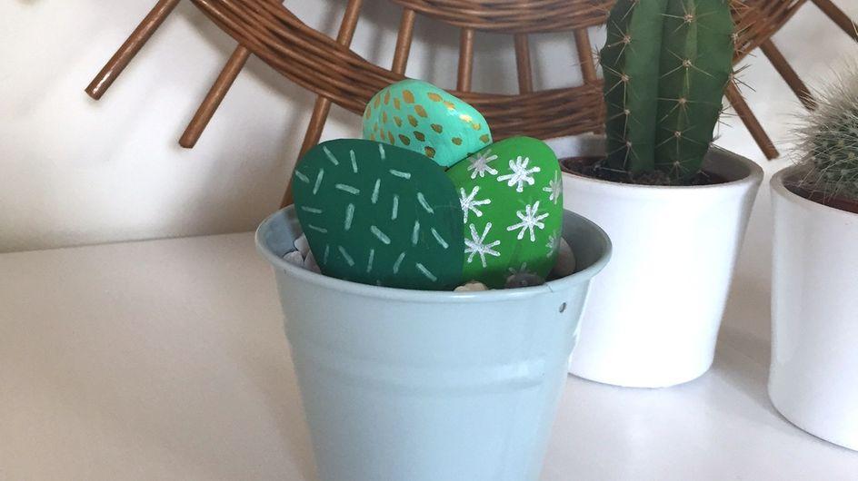 DIY : des cactus réalisés avec des galets