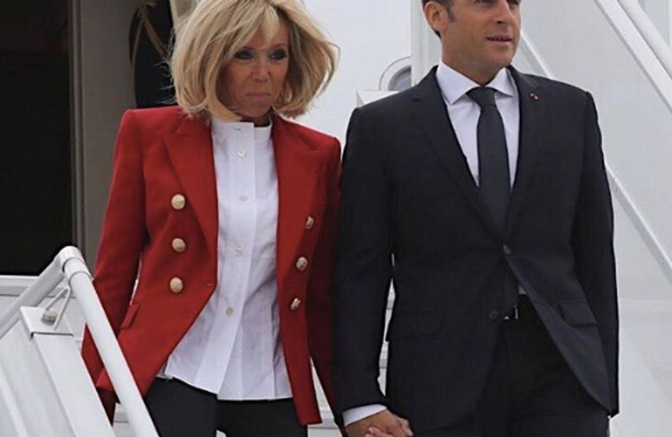 Brigitte Macron, ultra chic en rouge et blanc pour son arrivée au Canada