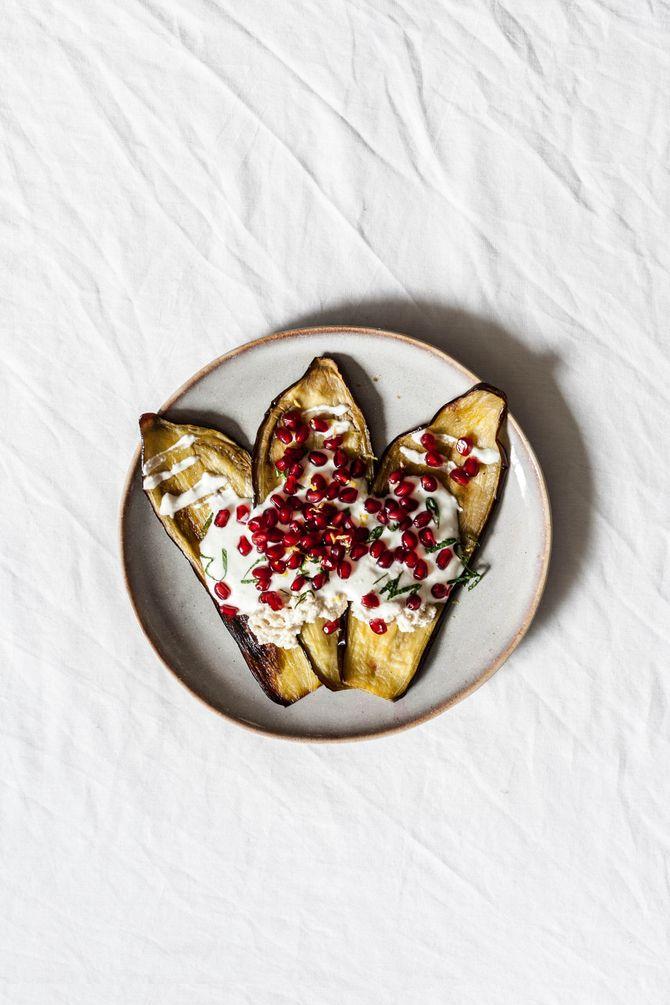 Aubergines grillées au yaourt grec.