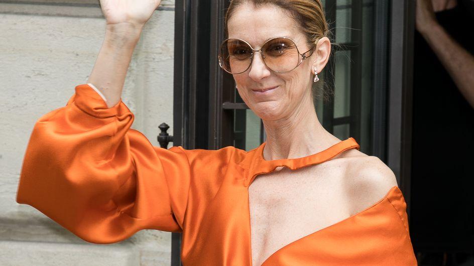 Smoking en satin rose et mules en fourrure, le look étonnant de Céline Dion