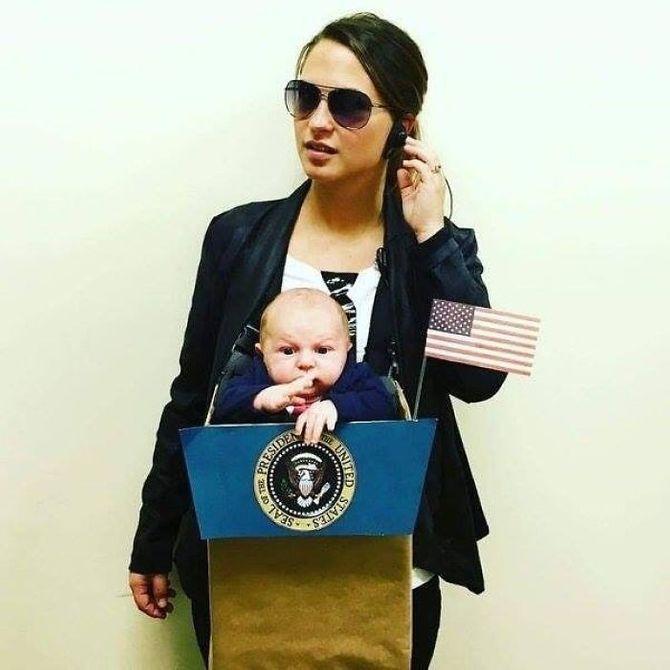La garde du corps et le président - Déguisement avec un porte-bébé
