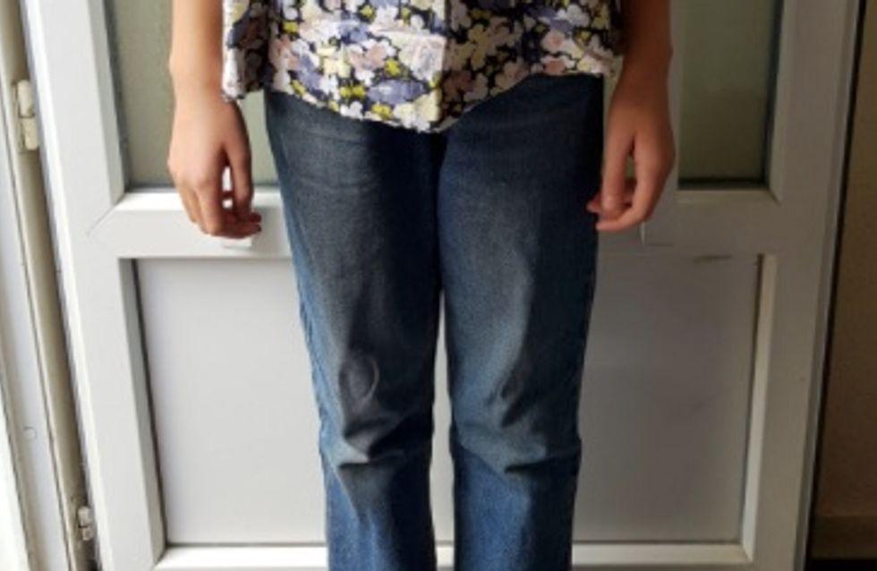 Une collégienne, obligée par son école à porter un vieux jean pour une raison scandaleuse !