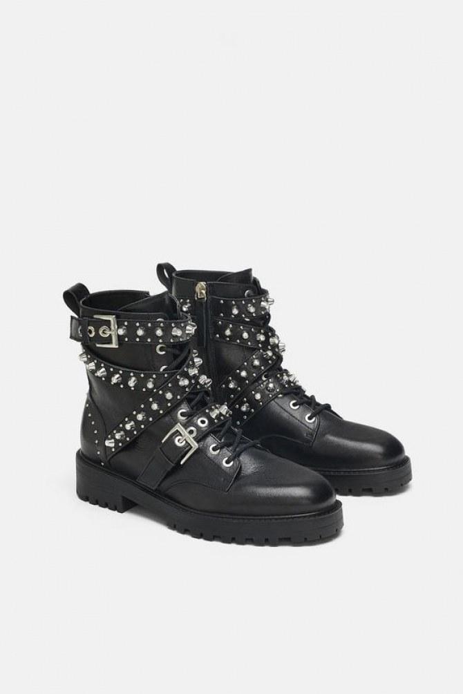Boots en cuir à bijoux, Zara, 89,95 €