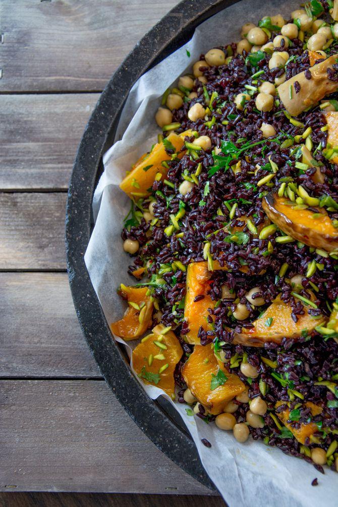 Riz noir au potiron rôti, une bonne idée de recette de saison !