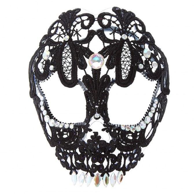 Masque squelette en dentelle noire, Claire's - 7,79€